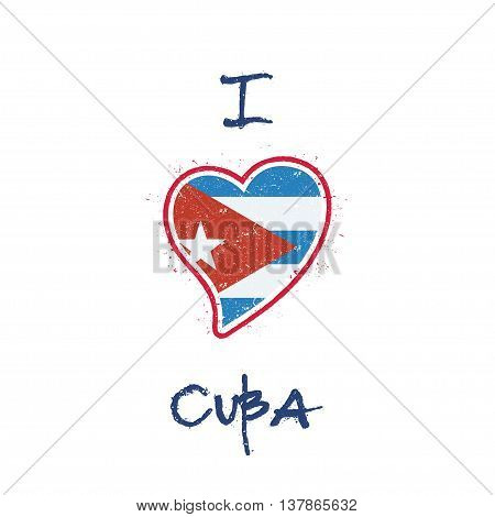 Cuban Flag Patriotic T-shirt Design. Heart Shaped National Flag Cuba On White Background. Vector Ill