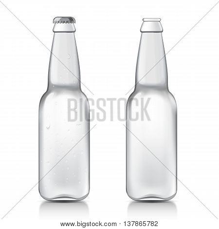 Transparent glass beer bottles. Set realistic patterns bottles are ready for your design. Mock Up Template Ready For Your Design. Isolated On White Background. Vector illustration