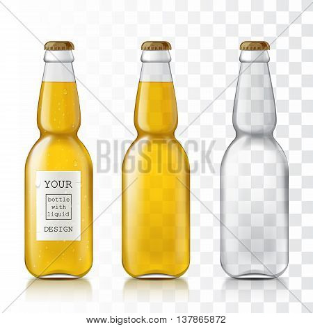 Set realistic bottles. Templates glass realistic transparent bottles are ready for your design. Drinking bottles liquid - beer, water, soda. Vector illustration.