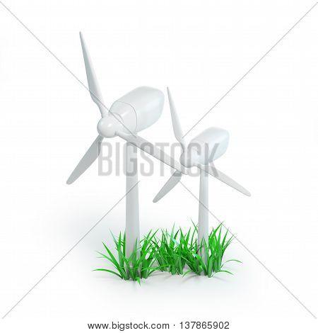 wind turbine icon isolated on white background. 3d illustration