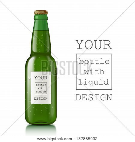 Realistic beer bottle. Glass transparent scalable beer bottle with liquid - beer, water, soda. Template ready for your design. illustration