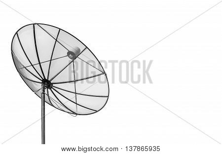 Big Black Satellite Dish Isolated On White Background With Copy Space