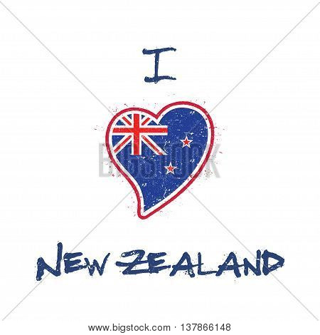 New Zealander Flag Patriotic T-shirt Design. Heart Shaped National Flag New Zealand On White Backgro