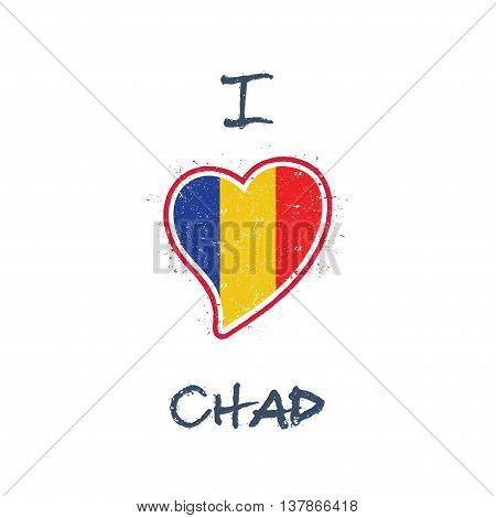 Chadian Flag Patriotic T-shirt Design. Heart Shaped National Flag Chad On White Background. Vector I