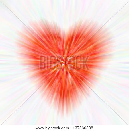 abstract red heart with colorful rays isolated on white background. the concept of love Valentine's day