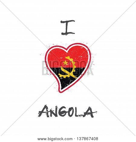 Angolan Flag Patriotic T-shirt Design. Heart Shaped National Flag Angola On White Background. Vector