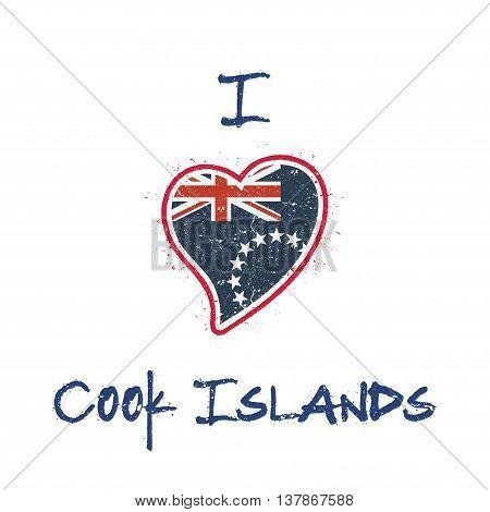 Cook Islander Flag Patriotic T-shirt Design. Heart Shaped National Flag Cook Islands On White Backgr