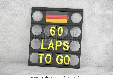 racing pit board with flag of Germany 3D rendering