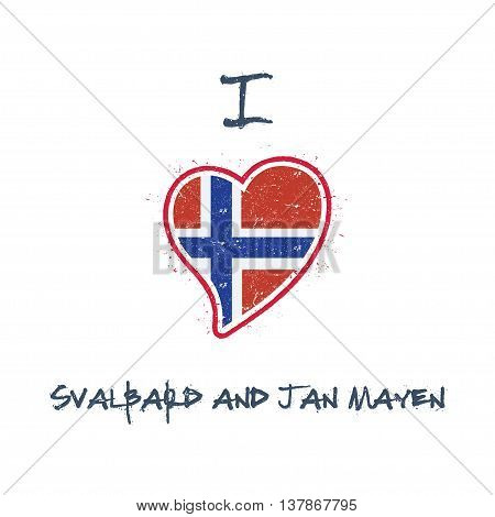 Norwegian Flag Patriotic T-shirt Design. Heart Shaped National Flag Svalbard And Jan Mayen On White