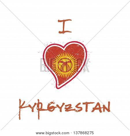 Kirghiz Flag Patriotic T-shirt Design. Heart Shaped National Flag Kyrgyzstan On White Background. Ve