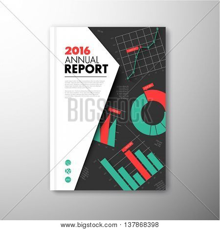 Modern Vector annual brochure, report or flyer design template with infographic graphs and charts - teal and red version