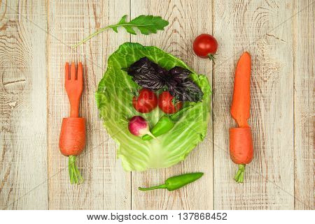 Set of fresh vegetables for a healthy diet