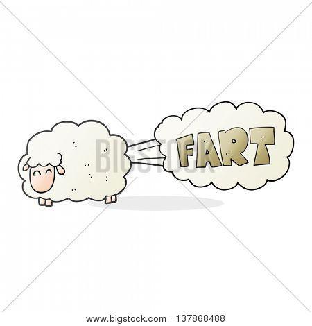 freehand drawn cartoon farting sheep
