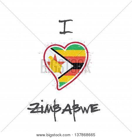 Zimbabwean Flag Patriotic T-shirt Design. Heart Shaped National Flag Zimbabwe On White Background. V