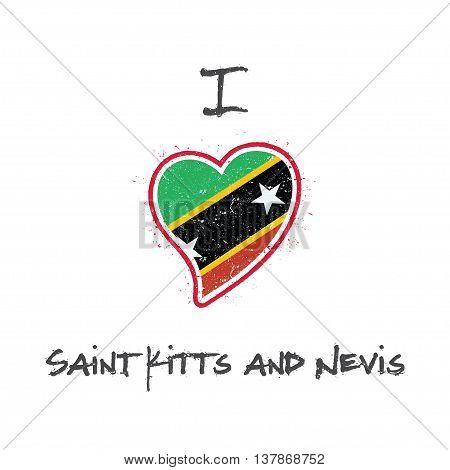 Kittian And Nevisian Flag Patriotic T-shirt Design. Heart Shaped National Flag Saint Kitts And Nevis