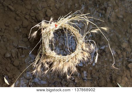 A wreath of dry grass on the banks of the river