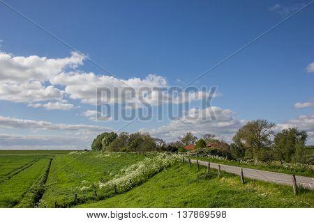 Dike along the dollard route in Ostfriesland Germany