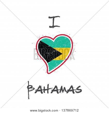 Bahamian Flag Patriotic T-shirt Design. Heart Shaped National Flag Bahamas On White Background. Vect