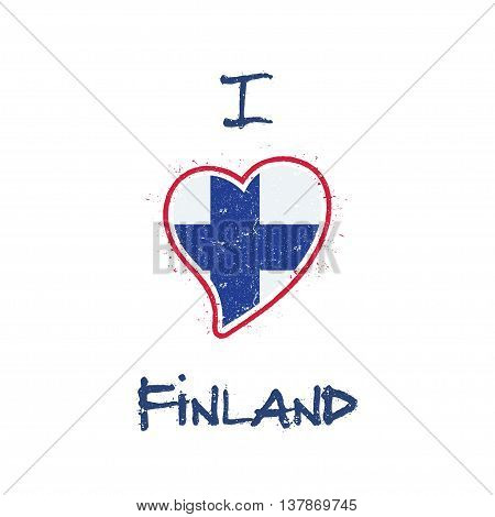 Finnish Flag Patriotic T-shirt Design. Heart Shaped National Flag Finland On White Background. Vecto