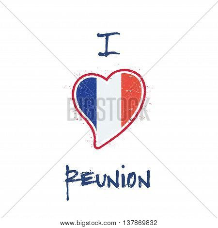 French Flag Patriotic T-shirt Design. Heart Shaped National Flag Reunion On White Background. Vector