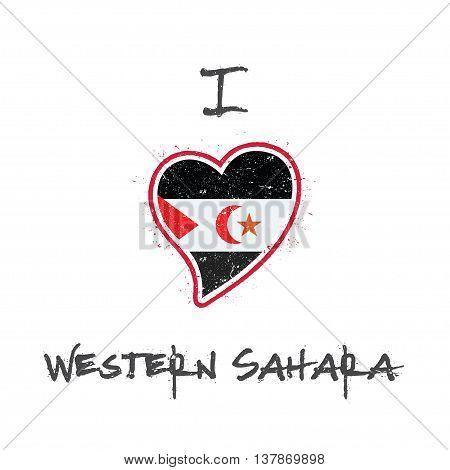 Sahrawi Flag Patriotic T-shirt Design. Heart Shaped National Flag Western Sahara On White Background