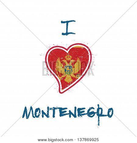 Montenegrin Flag Patriotic T-shirt Design. Heart Shaped National Flag Montenegro On White Background