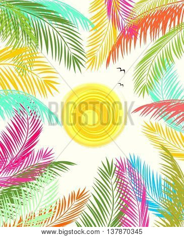Summery poster with colorful palm leaves and sun