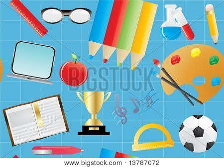 Vector illustration of seamless education background on blue paper