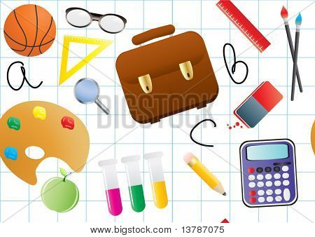 Vector illustration of educational objects on a blue background