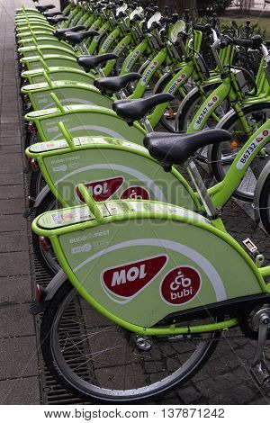 BUDAPEST, CENTRAL HUNGARY/HUNGARY - FEBRUARY 1, 2015: Row of public bikes in Budapest Hungary.