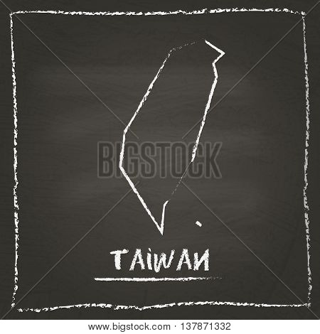 Taiwan, Republic Of China Outline Vector Map Hand Drawn With Chalk On A Blackboard. Chalkboard Scrib