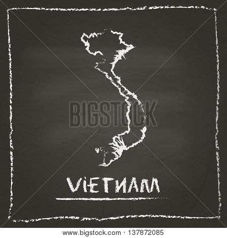 Vietnam Outline Vector Map Hand Drawn With Chalk On A Blackboard. Chalkboard Scribble In Childish St