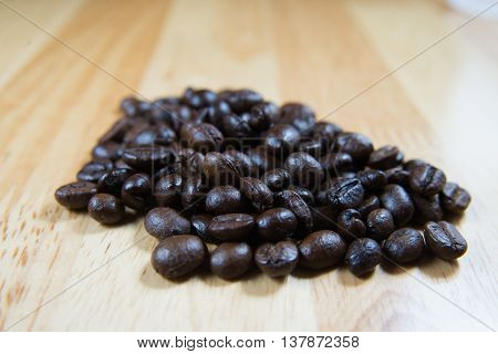 Coffee Beans And Shadow  On Wood Background,selective Focus