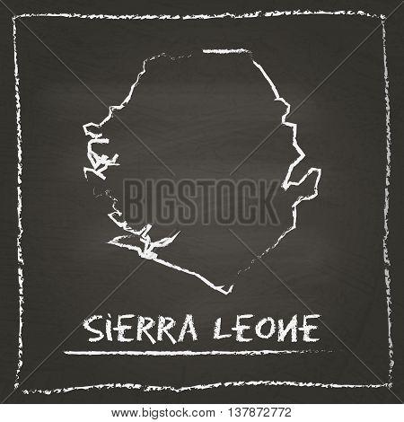 Sierra Leone Outline Vector Map Hand Drawn With Chalk On A Blackboard. Chalkboard Scribble In Childi