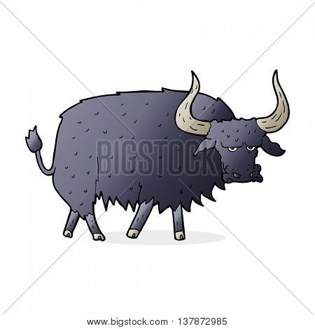 cartoon annoyed hairy ox