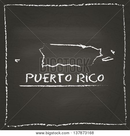 Puerto Rico Outline Vector Map Hand Drawn With Chalk On A Blackboard. Chalkboard Scribble In Childis
