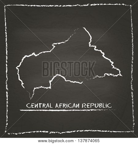 Central African Republic Outline Vector Map Hand Drawn With Chalk On A Blackboard. Chalkboard Scribb