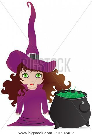 Vector illustration of little witch with a cauldron