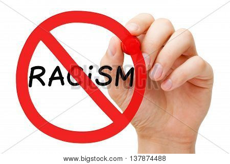 Hand drawing Racism prohibition sign concept with marker on transparent wipe board.
