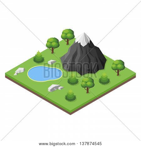 Isometric 3d illustration of mountain lake in the woods.