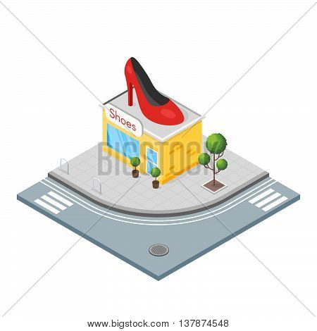 Isometric 3d illustration of shoes shop. High heel shoe on the top of the shop.