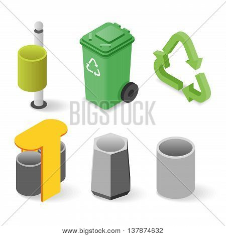 Vector isometric set of realistic waste cans.