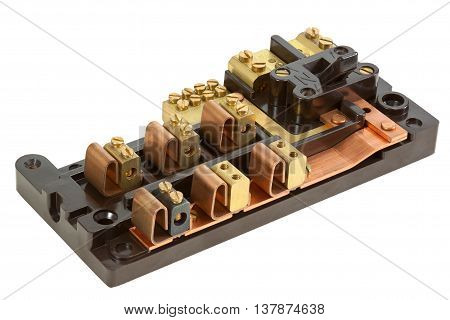 Inside an Old Fuse box isolated on white with clipping path