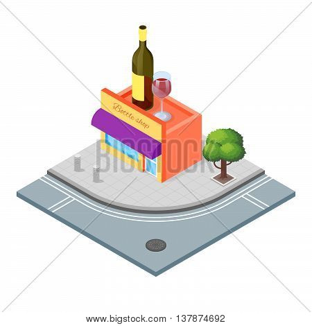 Isometric 3d vector illustration of wine shop that sells alcoholic drinks.City landscape.