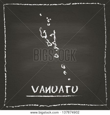 Vanuatu Outline Vector Map Hand Drawn With Chalk On A Blackboard. Chalkboard Scribble In Childish St