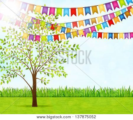 Garden party with green grass, tree and garlands of flags vector background