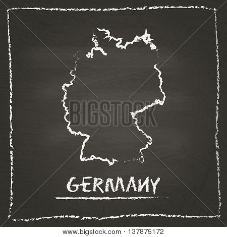Germany Outline Vector Map Hand Drawn With Chalk On A Blackboard. Chalkboard Scribble In Childish St