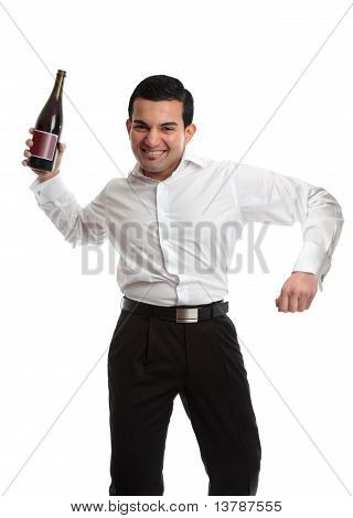 Party Goer With Wine Bottle Celebrating