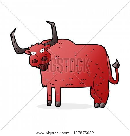 cartoon hairy cow