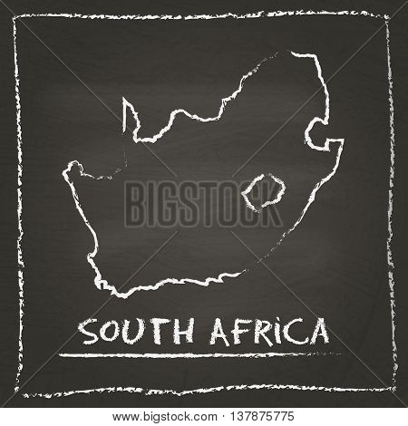 South Africa Outline Vector Map Hand Drawn With Chalk On A Blackboard. Chalkboard Scribble In Childi